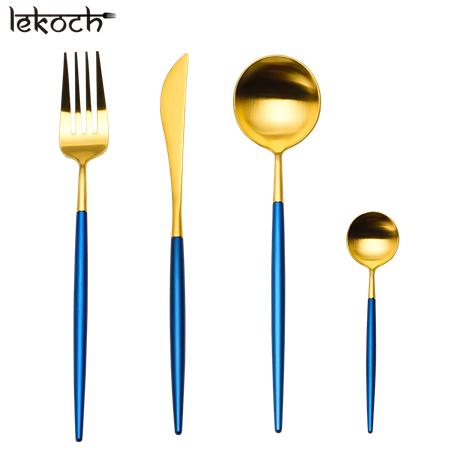 LEKOCH 4 PCS 18/10 Stainless-steel Flatware Set Portugal Classical GOLD&BLUE