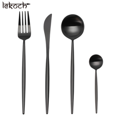 LEKOCH 4 PCS 18/10 Stainless-steel Flatware Set Portugal Classical BLACK