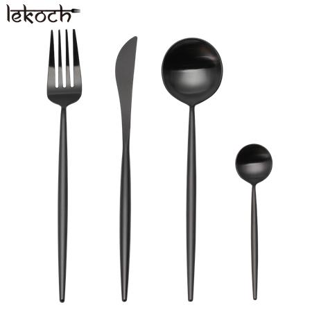 LEKOCH 4 PCS 18/10 Stainless-steel Flatware Set Portugal Classical BLACK