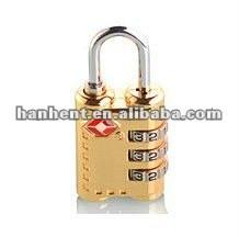 Tsa shinning del oro de la cerradura de combinación