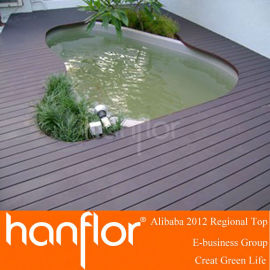Junto a la piscina de madera decking compuesto