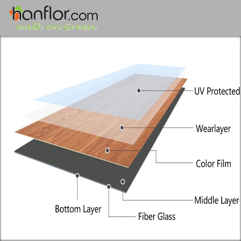 Hanflor pvc plank 2mm wood embossed anticigaretteburn semimatt