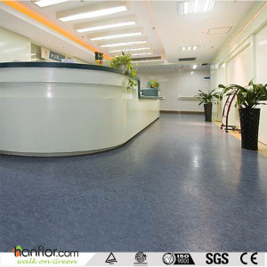 Hanflor hopsital homogeneous vinyl pvc flooring roll antibacterial 2mm 20''*2'' anti-slip easy-clean sound absorption