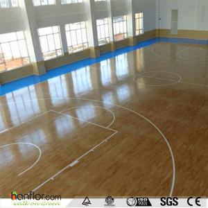 Hanflor vinyl sports flooring semi-glossy 20'' x 1.5'' 4.5mm anti-scratch shock-resistance sound absorption