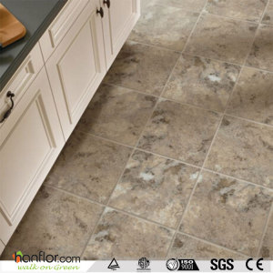 Hanflor heavy tarffic commercial vinyl tile 3.0mm multi-thickness 18''*18'' anti-slip semi-matt hand-scraped easy-clean high durability