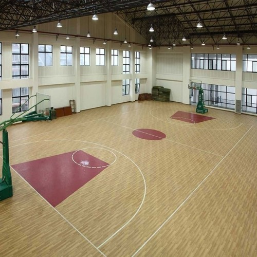 Hanflor 4.5mm Top Quality Wood Design PVC Flooring Roll For Basketball Court