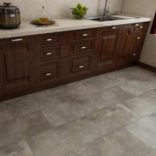 "12""X24""4mm Stone Look 100% Waterproof Gule Down Vinyl Tile For Kitchen"