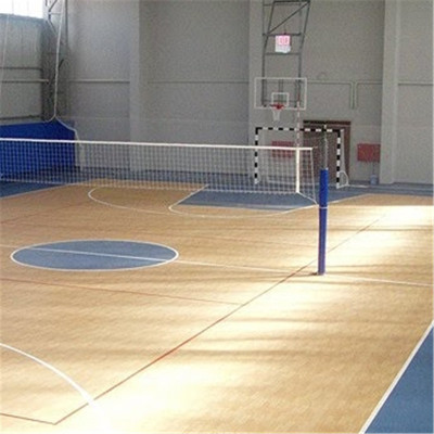 Hanflor 4.5mm Top Quality Wood Look PVC Flooring Vinyl Sheet Roll For Basketball Court