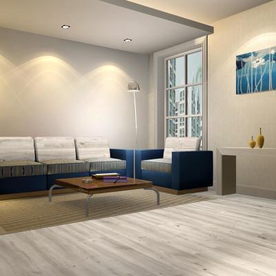 Hanflor 9''x48'' 4.2mm Light Gray Oak Vinyl Plank Flooring Easy CleanHIF 20457