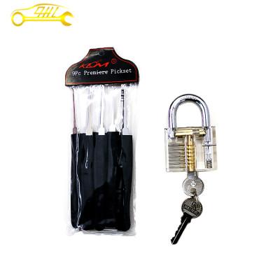 transparent lock black 9 piece klom lock pick together practice lock set free shipping professional locksmith supplies