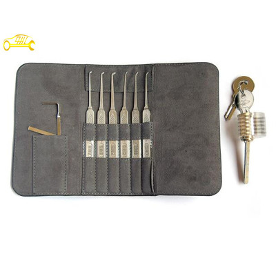 Stainless steel locksmith tools lock picks set with practice cutaways view of practice lock professional locksmith supplies for begineer