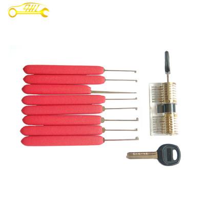 Transparent kaba practice lock with red stainless steel dimple lock picks hooks picks set for begineer skilling locksmith supplies
