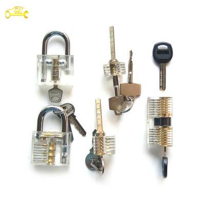 Transparent practice lock set 5 set (transparent +ab kaba +cross lock +blade lock ) cutaway lock pick