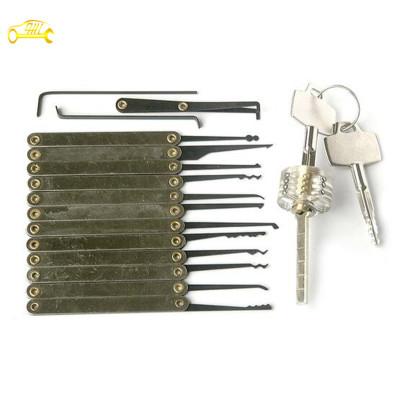 transparent cutaway Cross locks set with 12 + 3 hooks pick set locksmith tools lock picks tools hot sale