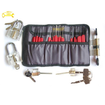 transparent cutaway practice lock set with red stainless steel locksmith tools lock picks tools hot sale