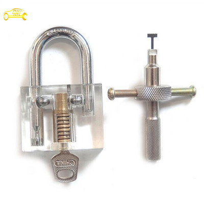 Transparent Inner Visual Lock Key + Silver Cross Tool for beginner practice Locksmith Lockpick Skill Training