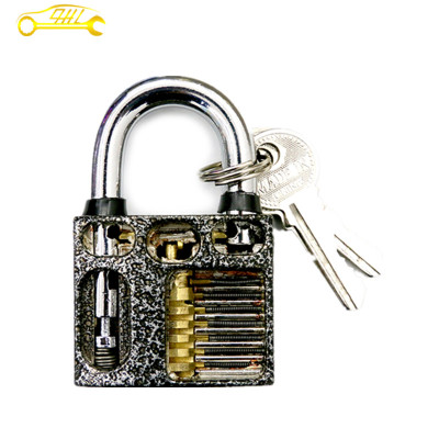 Silver Grey Stainless Steel Cut Away 7-Pin Practice Padlock for Locksmith Lock Picking