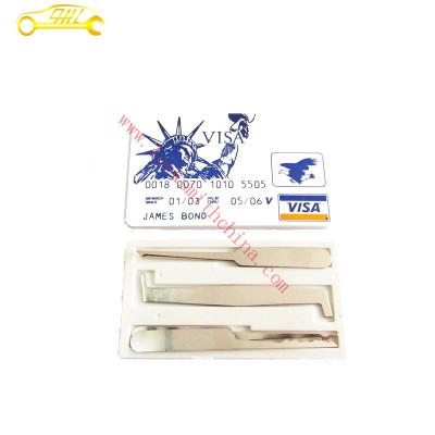 Credit card lock pick set with 5 pcs Silver picks