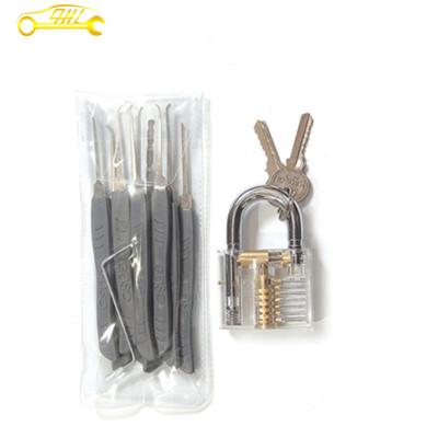 GOSO 9 pcs hook pick set with transparent padlock for locksmith training skill high quality practice locksmith tool set for sale