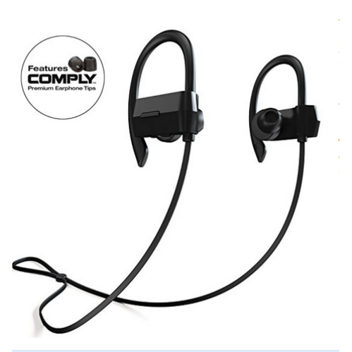 bluetooth headphones wireless in ear earbuds v4 1 stereo noise isolating sports sweatproof. Black Bedroom Furniture Sets. Home Design Ideas