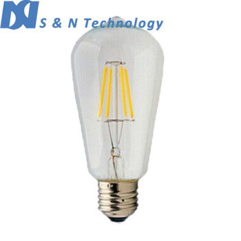 2016 new product pendant lighting e27 6W clear glass dimmable led filament bulb