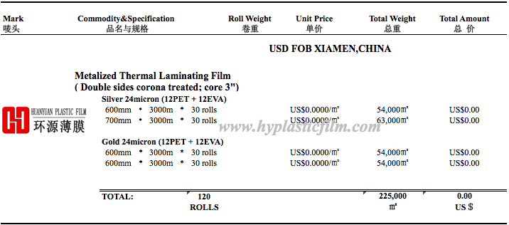 metallized polyester film rolls