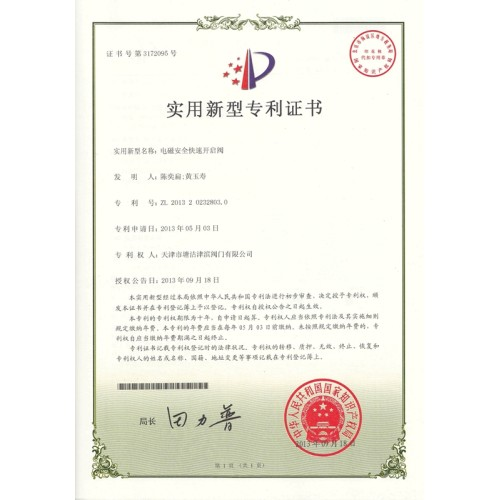 Utility Model Patent Certificate 6