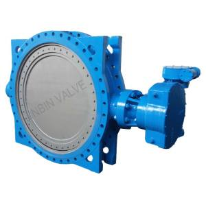Worm actuated valve-eccentric flanged butterfly type