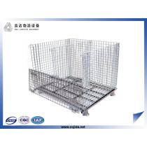 Folded storage pallet wire rolling storage cage