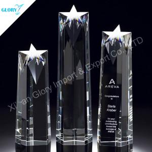 Elegant Glass Crystal Star Trophies For Award Show