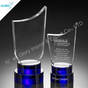 Blue Base Crystal Glass Engraving Award