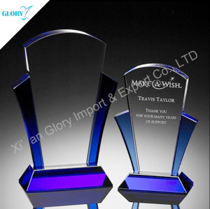 Custom Blue Crystal Plaque Trophy