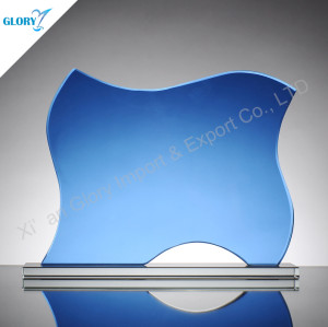 Blue Glass Plaque Supplier For Award