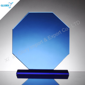 Blue Octagon Personalized Glass Plaques