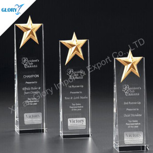 Metal Star Crystal Award Plaques