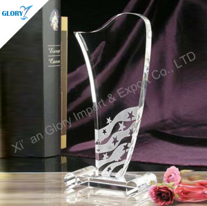 Sandblasting Sailboat Crystal Award Trophy