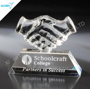 Crystal Hand Trophy For Corporate Awards