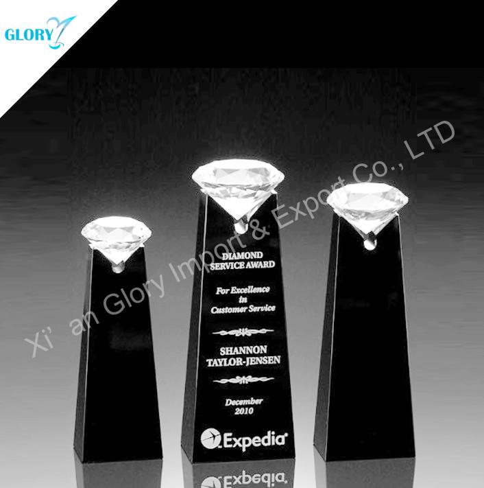custom diamond crystal trophy