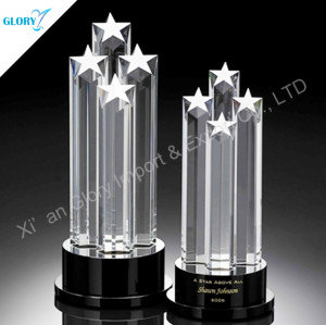 Noble Shiny Crystal Star Trophies With Black Base
