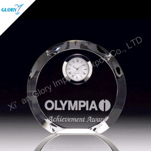 Laser Logo Round Crystal Clock