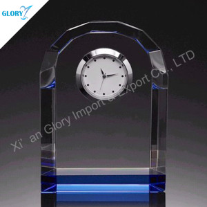 Wholesale Engraved Crystal Clock with Colorful Base