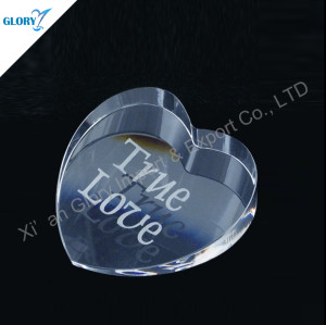 Crystal Glass Heart Paperweight For Wedding Souvenir