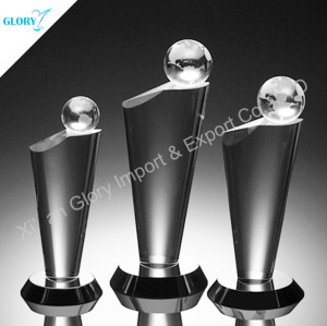 Custom Globe Crystal Trophy For Activity Souvenir