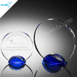Blue Base Round Crystal Award For Engraving