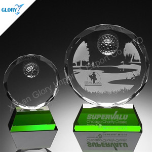 Custom Green Base Crystal Award Trophies For Golf