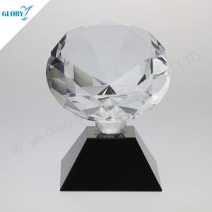 Custom Diamond Shape Crystal Award With Black Base