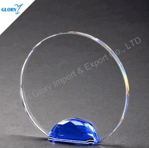 Clear Blank Crystal Plate With Blue Base