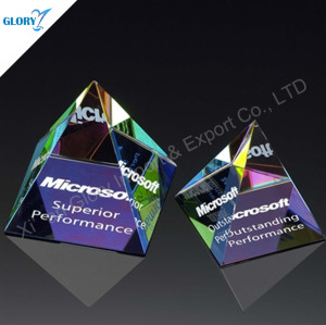 Noble Colorful Paperweight Crystal Pyramid