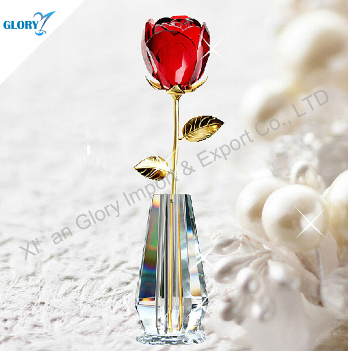 Beautiful Red Crystal Rose Flower