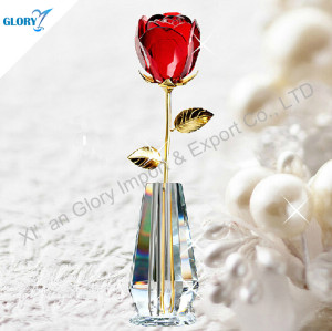 Beautiful Red Crystal Rose Flower For Wedding Ceremony